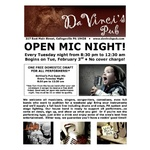 DaVinci's Pub Open Mic Flyer