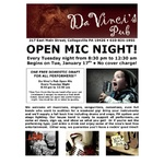 Da Vinci's Open Mic Flyer